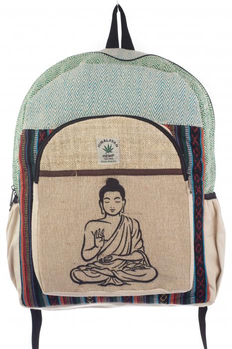 Rucsac din canepa si bumbac - Buddha 5 Albastru 0