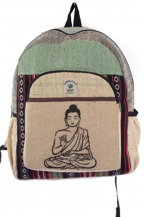 Rucsac din canepa si bumbac - Buddha 7 Verde 0