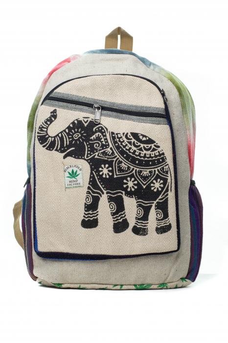 Rucsac din canepa si bumbac - Namaste elephant - Leaf motif [5]