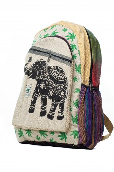 Rucsac din canepa si bumbac - Namaste elephant - Leaf motif [11]