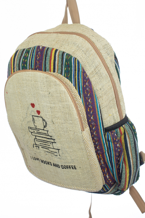 Rucsac din canepa si bumbac - I Love Books & Coffee 2 1