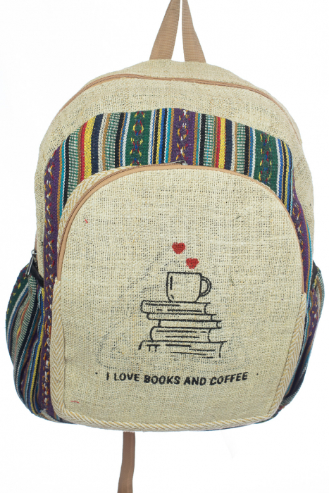 Rucsac din canepa si bumbac - I Love Books & Coffee 2 0