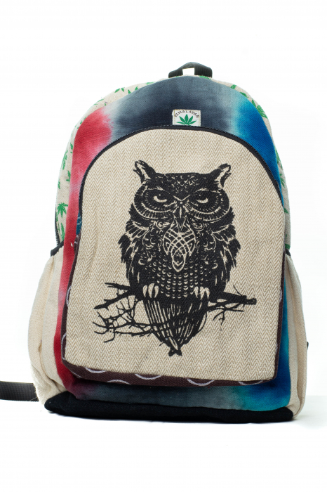 Rucsac din canepa si bumbac -Black Owl - Leaf motif [10]