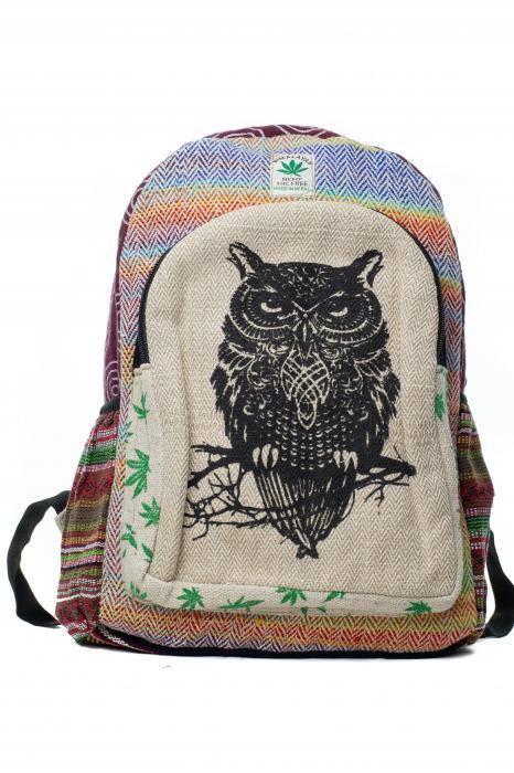 Rucsac din canepa si bumbac -Black Owl - Leaf motif [0]