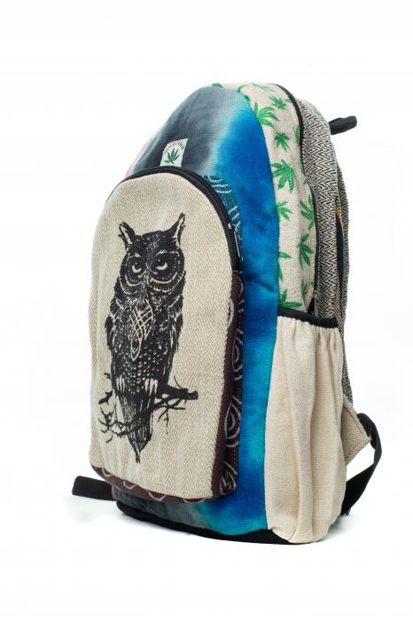 Rucsac din canepa si bumbac -Black Owl - Leaf motif [11]