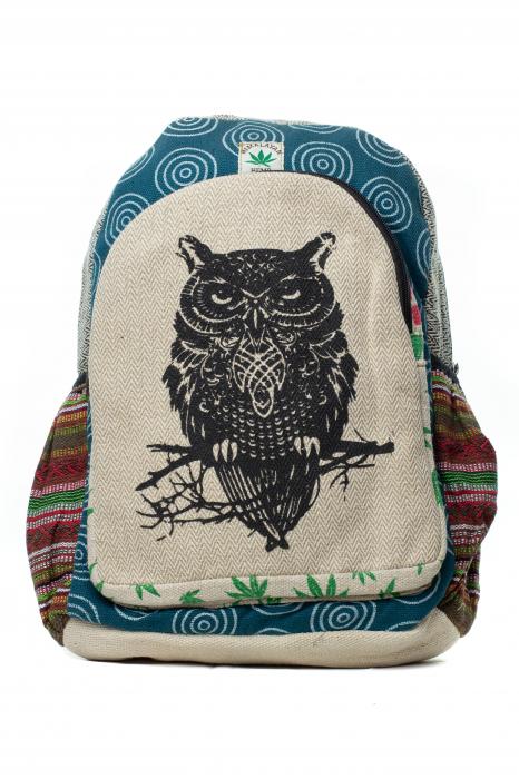 Rucsac din canepa si bumbac -Black Owl - Leaf motif [5]
