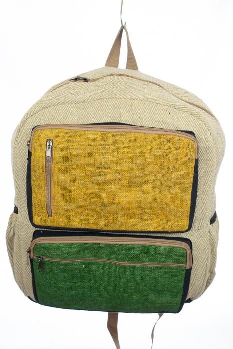 Rucsac din canepa si bumbac - Yellow and Green [0]