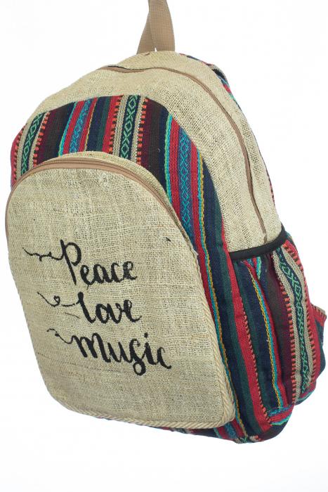 Rucsac din canepa si bumbac - Peace, Love, Music 3 1