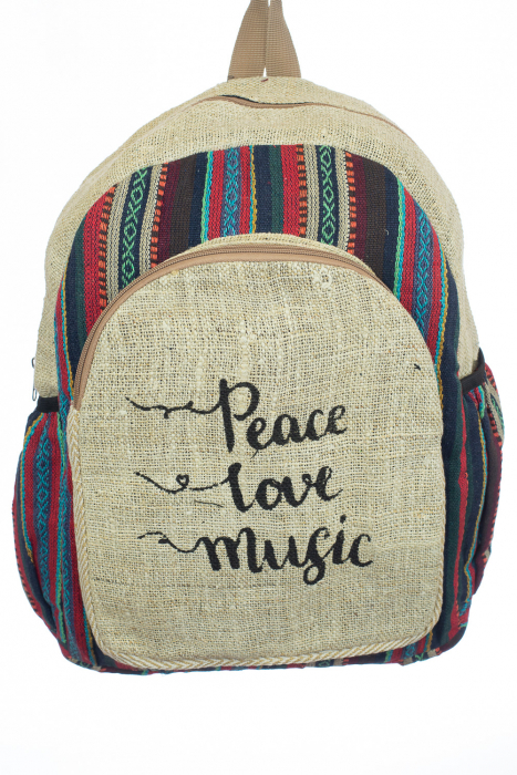 Rucsac din canepa si bumbac - Peace, Love, Music 3 0