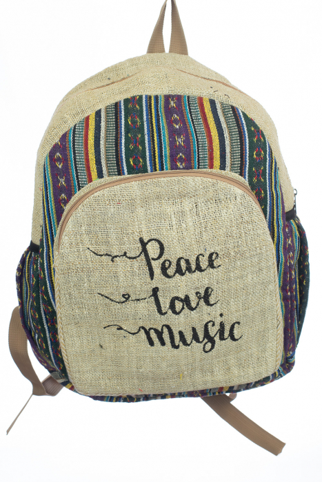 Rucsac din canepa si bumbac - Peace, Love, Music 4 0