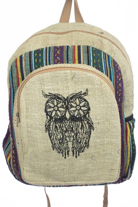 Rucsac din canepa si bumbac print - OWL 2 0