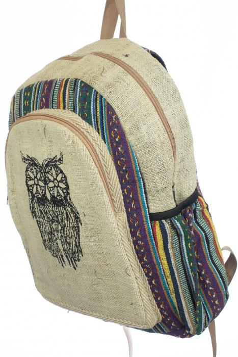 Rucsac din canepa si bumbac print - OWL 2 1