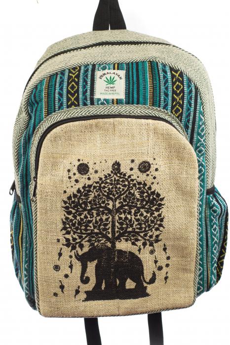 Rucsac din canepa si bumbac - Tree Elephant 0