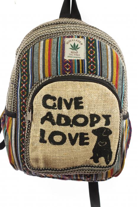 Rucsac mic din canepa si bumbac - Give, Adopt, Love 0