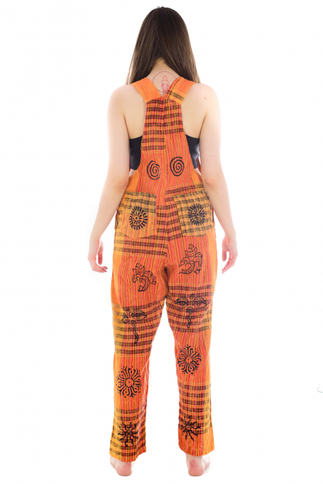 Salopeta portocalie cu print 6