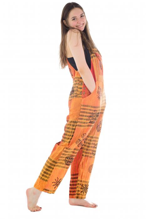 Salopeta portocalie cu print 5