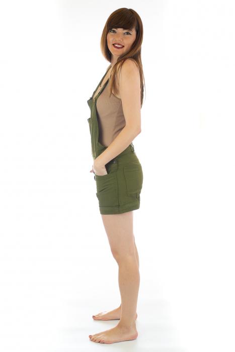 Salopeta scurta din bumbac - Verde Inchis [2]