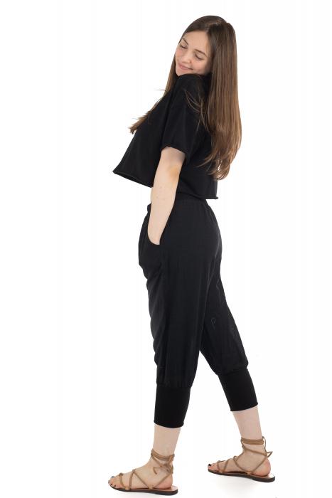 Pantaloni trei sferturi simpli - Negru [2]