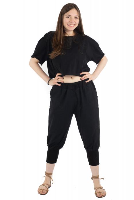 Pantaloni trei sferturi simpli - Negru [1]