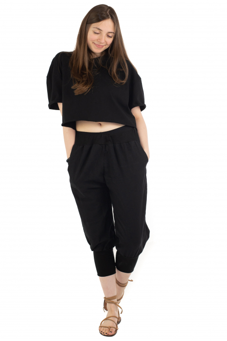 Pantaloni trei sferturi simpli - Negru [4]