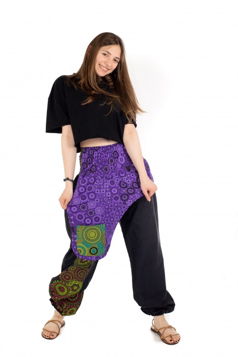 Pantaloni hippie negri - Motive abstracte [4]