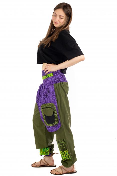 Pantaloni hippie kaki si mov - Motive abstracte [2]