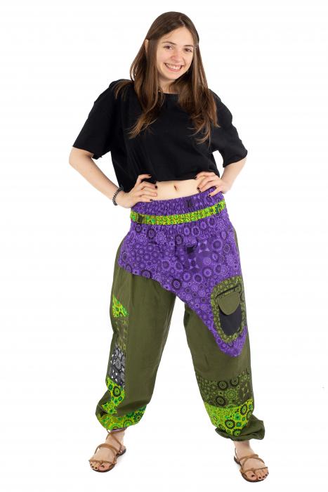 Pantaloni hippie kaki si mov - Motive abstracte [1]