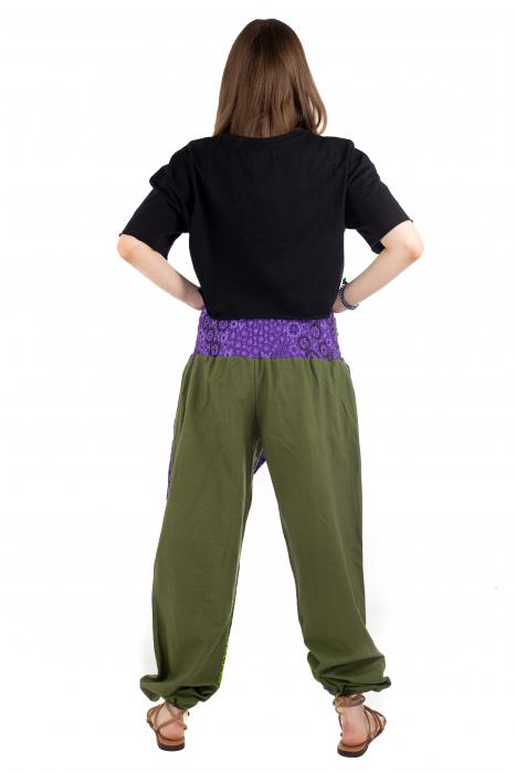 Pantaloni hippie kaki si mov - Motive abstracte [3]