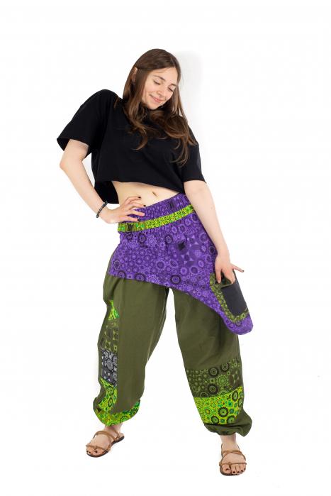 Pantaloni hippie kaki si mov - Motive abstracte [4]