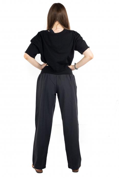 Pantaloni cu talie elastica - Broderie florala [4]