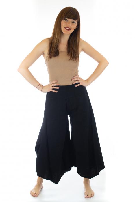 Pantaloni lejeri - Petal Tips Evazat - Negru [0]