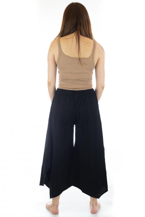 Pantaloni lejeri - Petal Tips Evazat - Negru [3]
