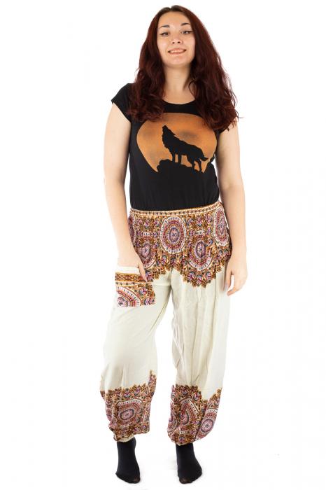 Pantaloni tip salvar femei mandala orientala albi 0
