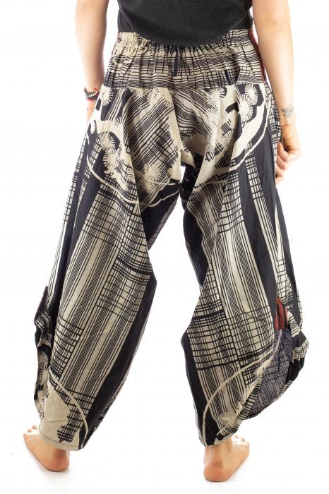 Pantaloni tip salvari full print - Linii Gri 6
