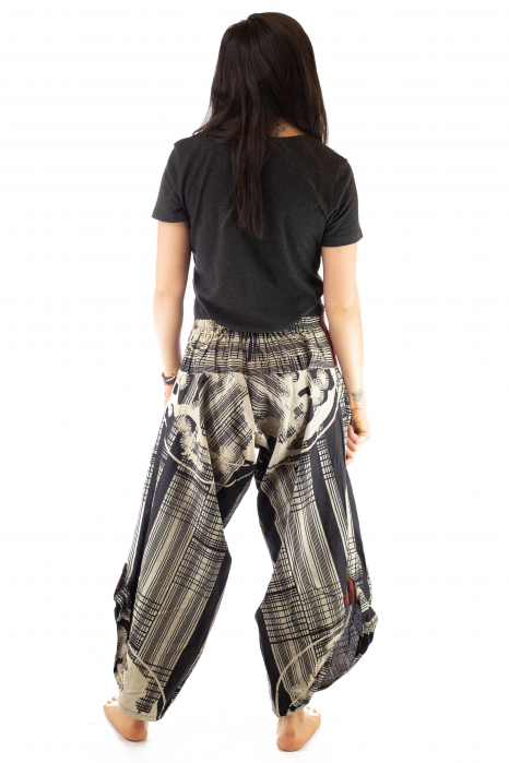 Pantaloni tip salvari full print - Linii Gri 5