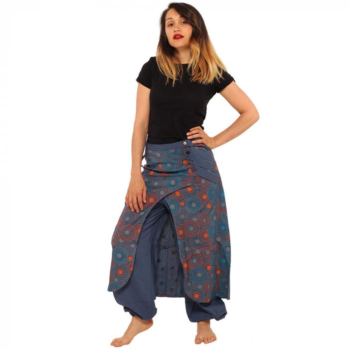 Salvari fusta/pantalon cu print floral - Albastru cu portocaliu 0