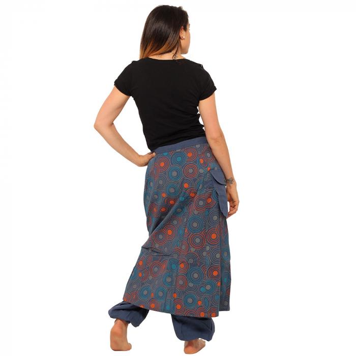 Salvari fusta/pantalon cu print floral - Albastru cu portocaliu 3