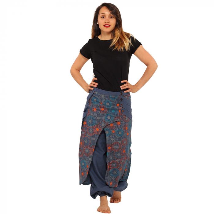 Salvari fusta/pantalon cu print floral - Albastru cu portocaliu 1