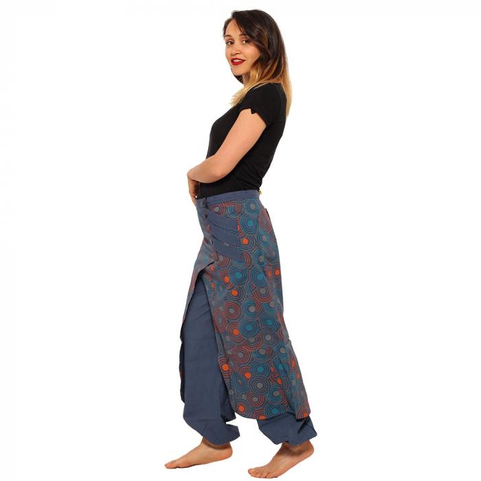 Salvari fusta/pantalon cu print floral - Albastru cu portocaliu 2