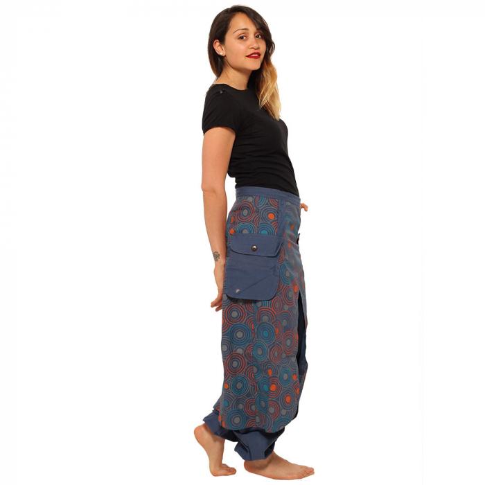 Salvari fusta/pantalon cu print floral - Albastru cu portocaliu 4