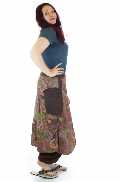Salvari fusta/pantalon cu print abstract - Maro [1]