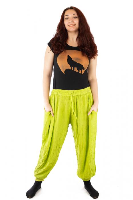 Pantaloni pentru femei creponati verzui 1