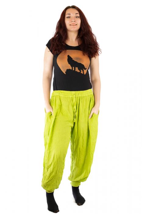 Pantaloni pentru femei creponati verzui 0