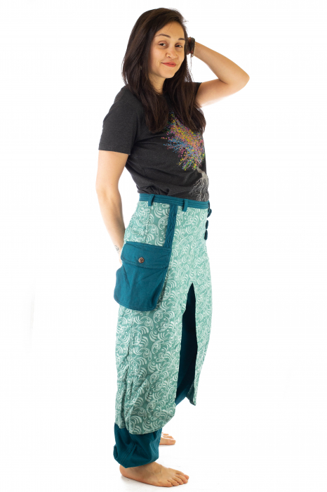 Salvari fusta/pantalon cu print floral - Albastru Deschis 9