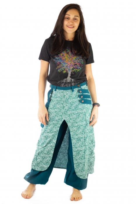 Salvari fusta/pantalon cu print floral - Albastru Deschis 0
