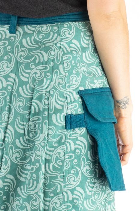 Salvari fusta/pantalon cu print floral - Albastru Deschis 7