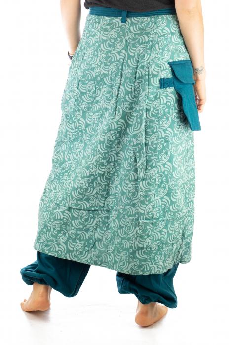 Salvari fusta/pantalon cu print floral - Albastru Deschis 6