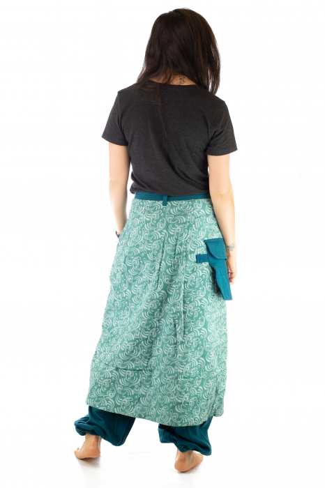 Salvari fusta/pantalon cu print floral - Albastru Deschis 5