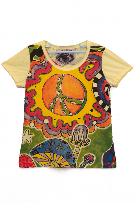 Tricou Hippie Mushrooms - Galben - Dame 0