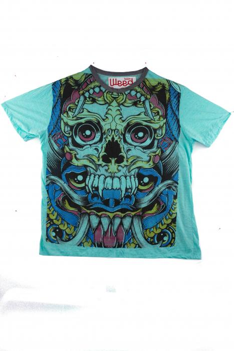 Tricou hippie - Blue Skull - marime L [1]